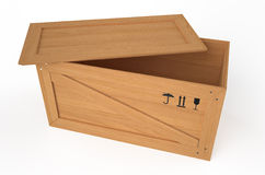 Wooden opened box Royalty Free Stock Photos