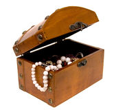 Wooden opened chest Stock Image