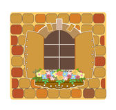 Wooden opening old window and flowers 2 vector Stock Photo