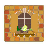 Wooden opening old window and flowers vector Stock Photography