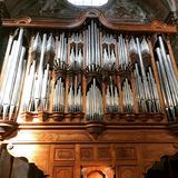 The great organ. Wooden organ in Florence Italy royalty free stock images