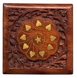 Wooden oriental box Stock Photos