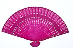 Wooden oriental chinese fan on white background Stock Photos