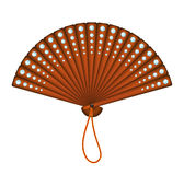 Wooden oriental fan with diamonds Stock Photo