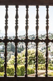 Wooden ornamental lattice window. Village view Royalty Free Stock Photography