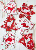 Wooden Ornaments for Christmas Tree Stock Images