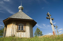 Wooden orthodox chapel. Old, wooden orthodox chapel in Bialowieza, Poland Stock Photo