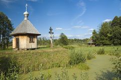Wooden orthodox chapel Stock Image