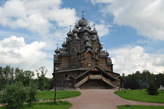 Wooden Orthodox Church - Church of the intercession in the estat Stock Photos