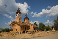 Wooden Orthodox Church. The construction of a new church Royalty Free Stock Images