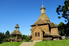 Wooden orthodox church in Curitiba city, Brazil Royalty Free Stock Photography