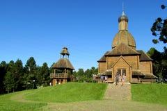 Wooden orthodox church in Curitiba city, Brazil Stock Image