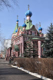 Wooden Orthodox Church in the spring. Royalty Free Stock Photo