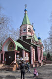 Wooden Orthodox Church in the spring. Stock Photo