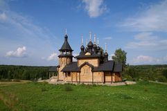 Wooden orthodox church view Royalty Free Stock Photos