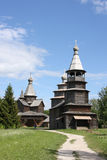 Wooden orthodox churches. Two 400 years old wooden churches at the museum of wooden architecture in Novgorod, Russia royalty free stock image