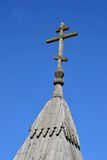 Wooden Orthodox cross on a blue sky background. Stock Photography