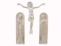 Wooden orthodox religion bas-relief isolated Stock Photography