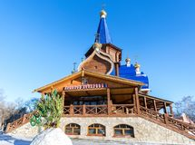 Wooden orthodox temple of the Icon of the Holy Mother of Tendern. Ess in Samara, Russia Stock Images