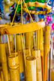 Wooden and other wind chimes on display Royalty Free Stock Images