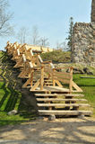 Wooden outdoor stairway Royalty Free Stock Photography