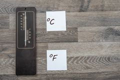 Wooden outdoor thermometer royalty free stock photos