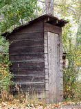 Wooden Outhouse. Amongst trees and autumn leaves Royalty Free Stock Photos