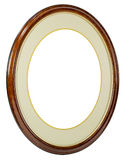 Wooden oval frame isolated background Stock Image