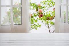 Wooden over summer window background Stock Photo
