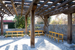 Wooden Overhang with benches Stock Photos