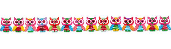 Wooden Owl row Royalty Free Stock Photography