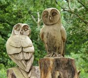 Wooden Owl Statues. Royalty Free Stock Photography
