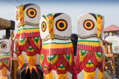 Wooden owls, handicraft items on display , Kolkata Stock Photography