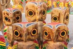 Wooden Owls , Indian handicrafts fair at Kolkata Stock Photo