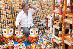 Wooden Owls , Indian handicrafts fair at Kolkata Royalty Free Stock Images