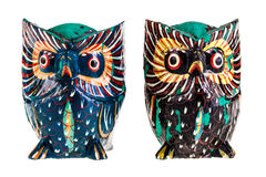 Wooden owls Stock Photography