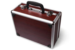Wooden padded aluminum briefcase Stock Photo