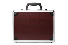 Wooden padded aluminum briefcase Royalty Free Stock Photos