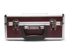 Wooden padded aluminum briefcase Royalty Free Stock Photo