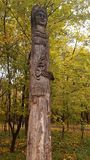 Wooden pagan statue. Royalty Free Stock Photo