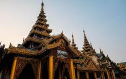 Wooden pagoda in myanmar. Golden pagoda made from wood at Shwedagon, Yanggon Royalty Free Stock Images