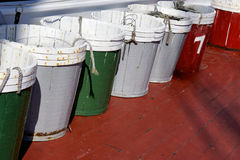 Wooden Pails on a Fishing Vessel Stock Image