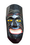 Wooden painted african mask isolated over white. royalty free stock images