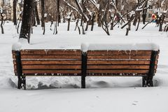 A wooden painted brown color beautiful bench with black wrought-iron legs stands with white snow is in a park in winter. Back view stock image
