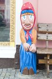 The wooden, painted figure of Baba Yaga, near her museum. Vladimir. Russia. Пометка для royalty free stock photo