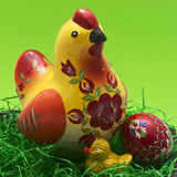 Wooden painted hen and chicken. With egg Royalty Free Stock Photo