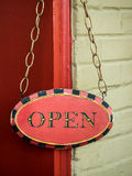 Wooden, Painted Open Sign Royalty Free Stock Images