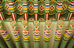 Wooden painted palace building seoul south korea Royalty Free Stock Photo