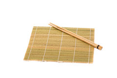 Wooden pairs of chopsticks on white background.  Royalty Free Stock Images