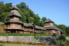 Wooden palace. Rattanarangsarn palace, made of teak wood. It is located on the hilltop named Niwest Kiree at Ranong province, Thailand stock images